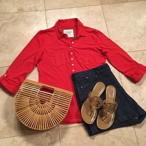 Abercrombie & Fitch red knit top